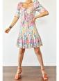 XHAN Turkuaz Eteği Fırfırlı Desenli Elbise 1Kxk6-44684-13 Turkuaz